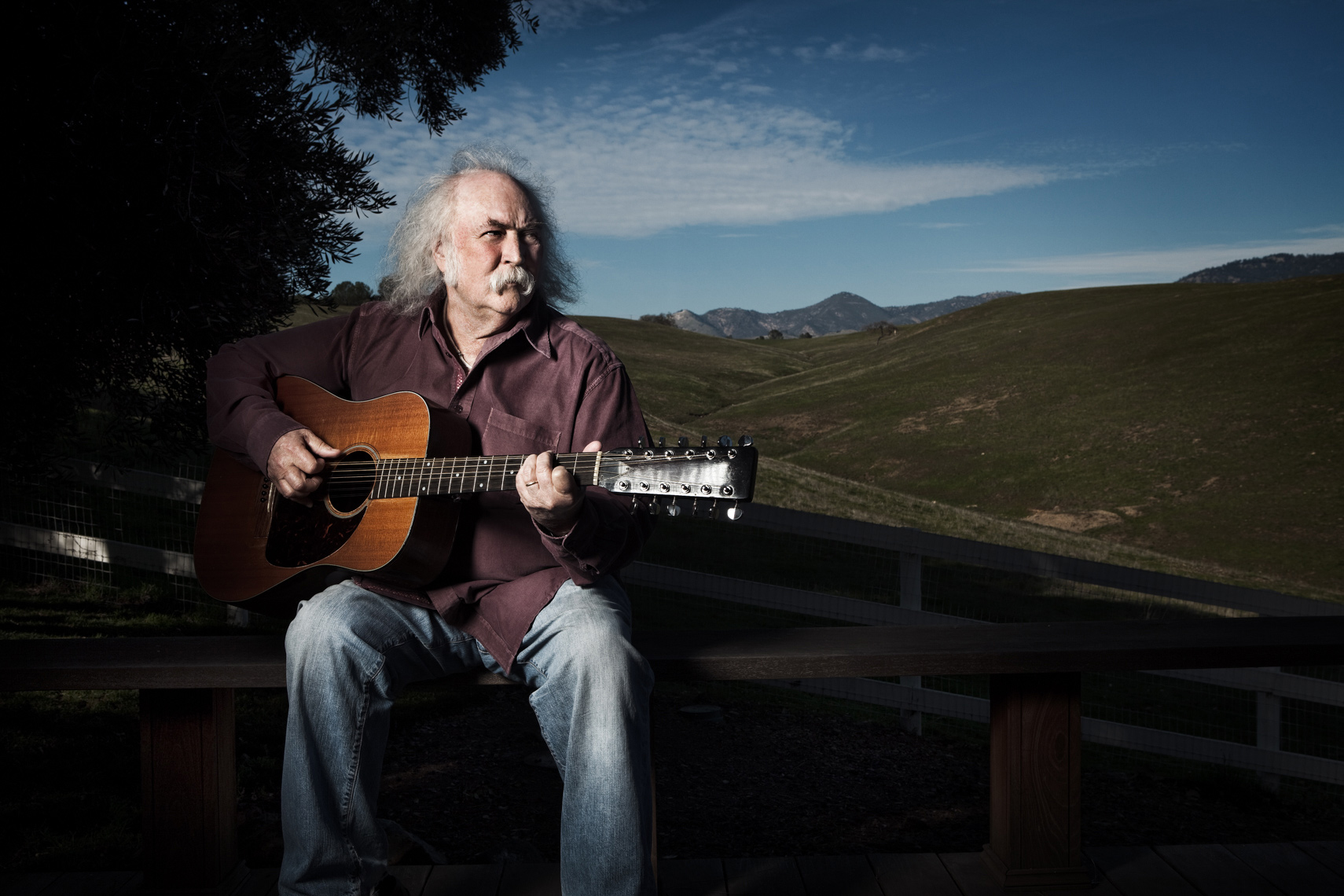 David Crosby Portrait by commercial celebrity entertainment photographer Michael Grecco