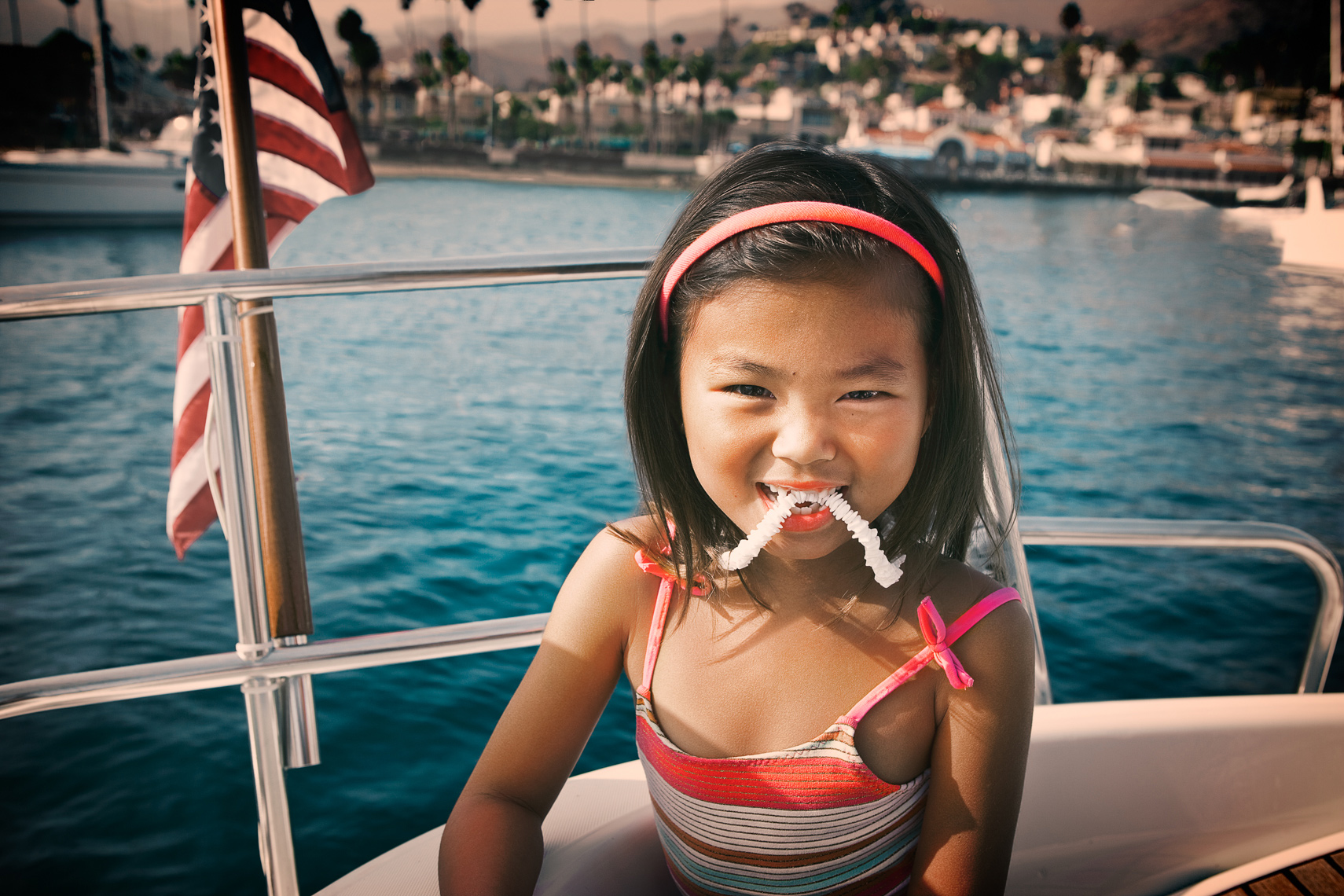 little girl boat Portrait by commercial celebrity advertising photographer Michael Grecco