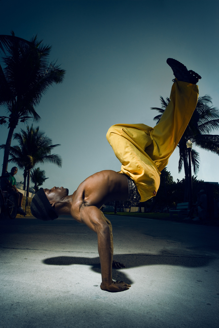 Miami People Street Performer Portrait by commercial celebrity photographer Michael Grecco