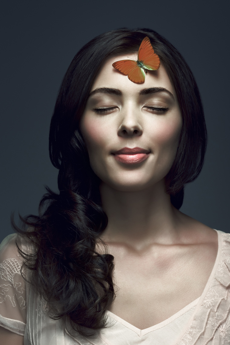 woman butterfly model Portrait by commercial celebrity fashion photographer Michael Grecco