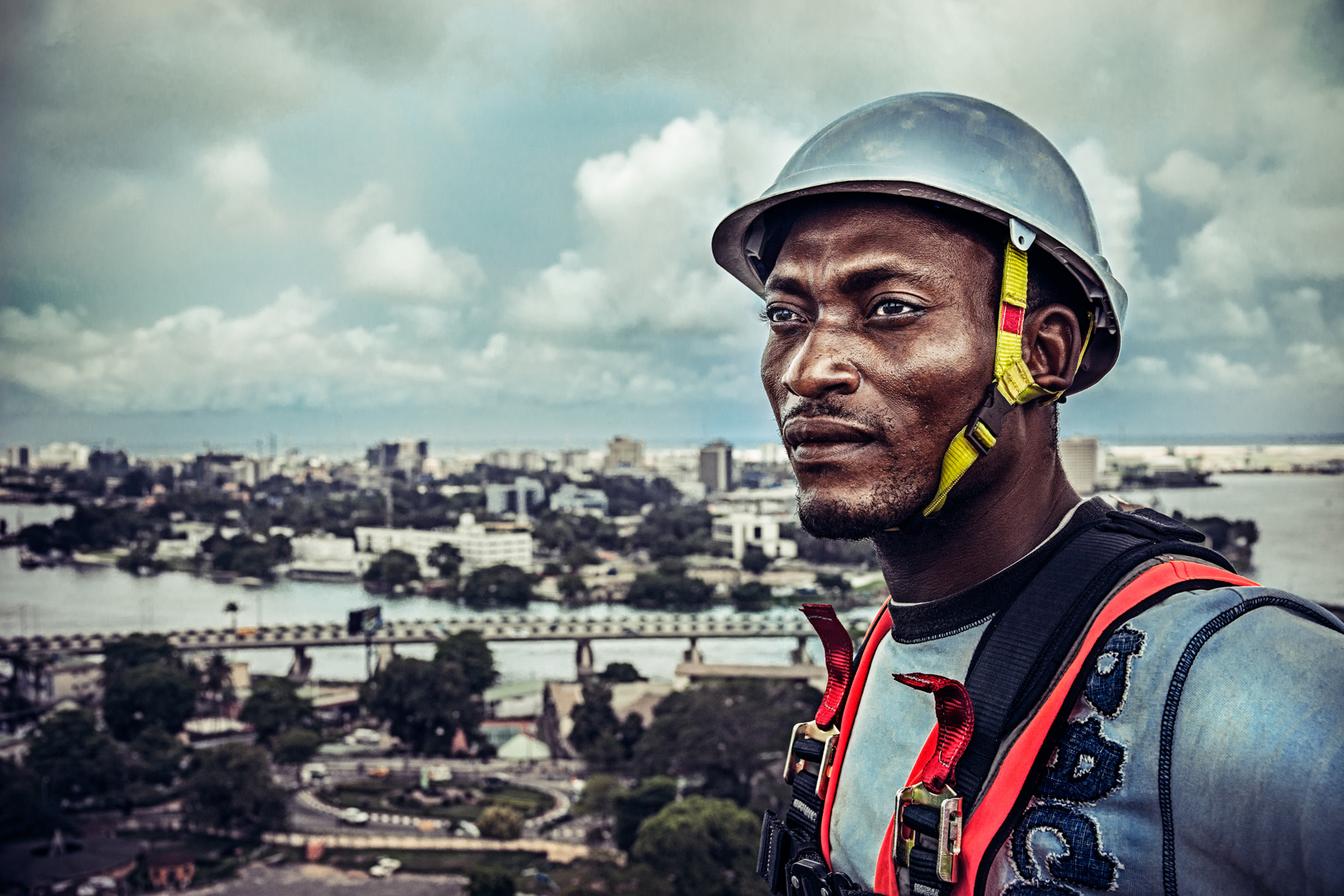Nigerian construction worker portrait by commercial advertising photographer Michael-Grecco