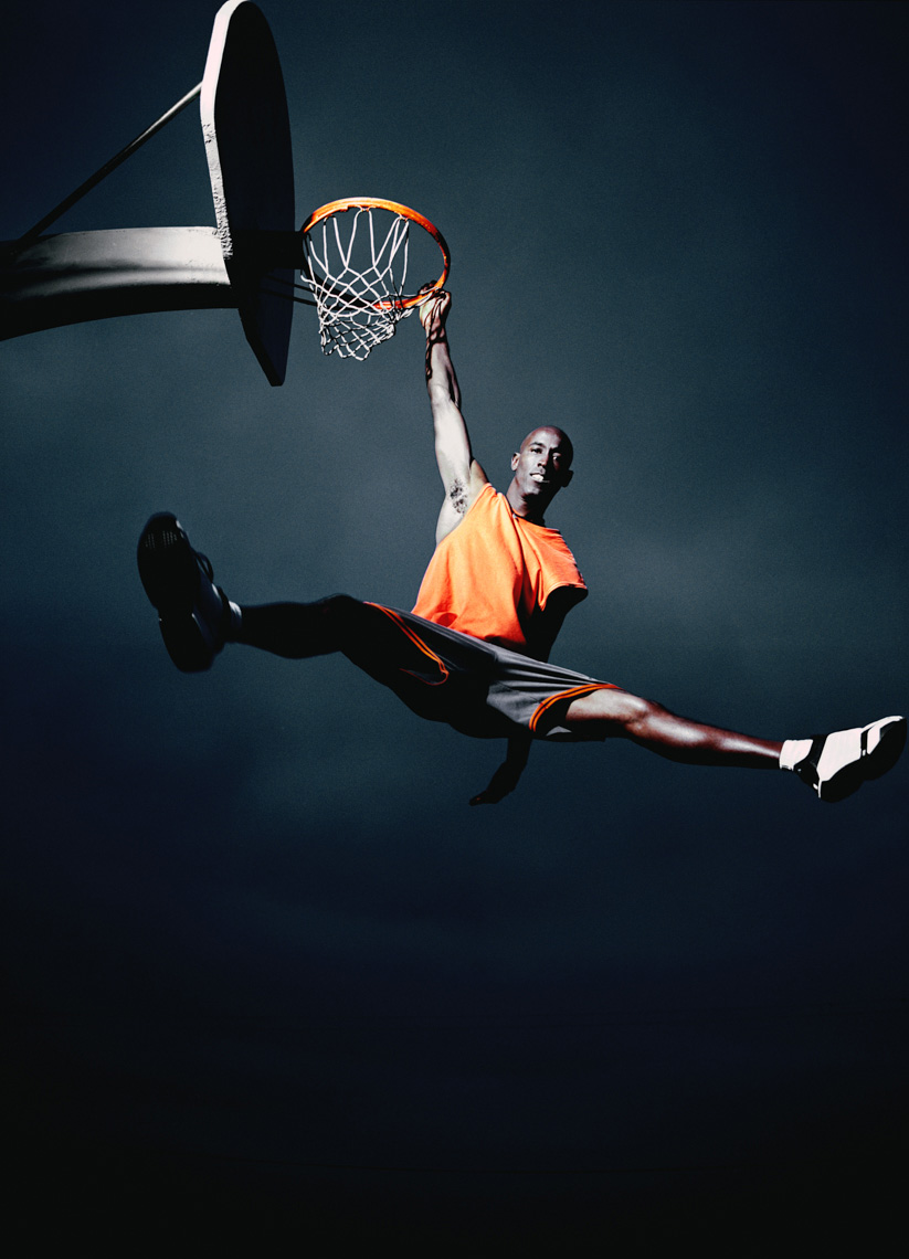 Men playing Basketball Portrait by commercial sports photographer Michael Grecco