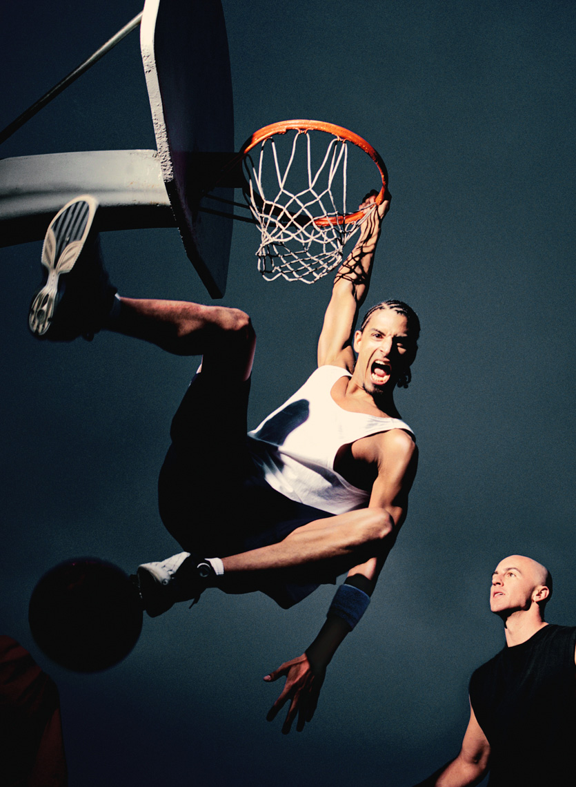 Basketballs players dunk by commercial sports photographer Michael Grecco